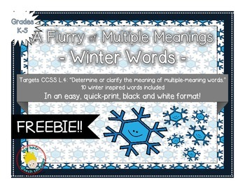 FREE: A Flurry of Multiple Meaning Words - A QUICK-PRINT W