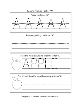 FREE A-Z Worksheet Sample Pages