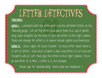 FREE ABC Letter Detectives Please Leave Feedback!