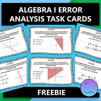 ALGEBRA I ERROR ANALYSIS TASK CARDS FREE