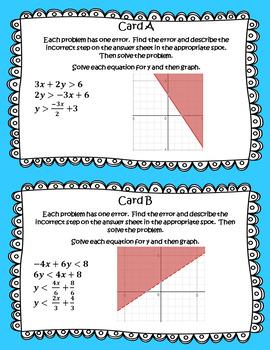 ALGEBRA 1 ERROR ANALYSIS TASK CARDS FREE