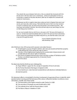 FREE - AP U.S. History New Format MC Questions 1607-1754