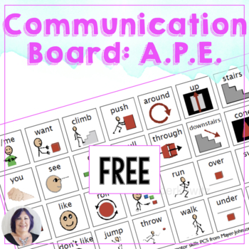 FREE Core Word Based APE Sensory or Motor Lab Picture Communication Board