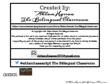 FREE ARABIC and ENGLISH CAUSE & EFFECT Organizer