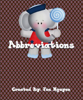 FREE Abbreviations - Days, Months, Titles, Locations!!! Centers/Worksheets