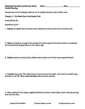 FREE Absolutely True Diary of a Part-Time Indian Ch 1-2 Guided Reading Worksheet
