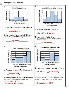 FREE Activity!! Histograms - 6th Grade Math - Statistics
