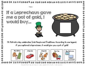 FREE Adapted Worksheet- St. Patrick's Day