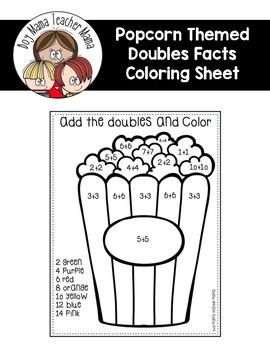 FREE Add and Color Doubles Facts Coloring Page by Boy Mama Teacher Mama