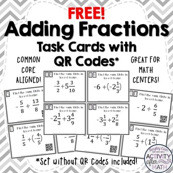 FREE Adding Fractions with Integers Task Cards with or without QR Codes!