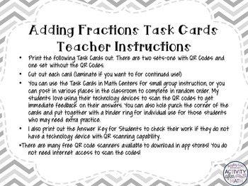 Adding Fractions with Integers Task Cards with QR Codes FREEBIE