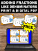 FREE Adding Fractions with Like Denominators Task Cards &