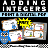 FREE Adding Integers Task Cards, 7th Grade Math Review, In