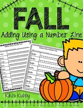 FREE Adding Using a Number Line: Fall Theme