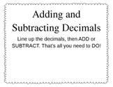 FREE - Adding and Subtracting Decimal Poster