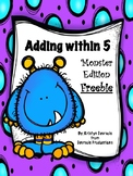 FREE Adding within 5 Worksheet - Monster Edition - No Prep!