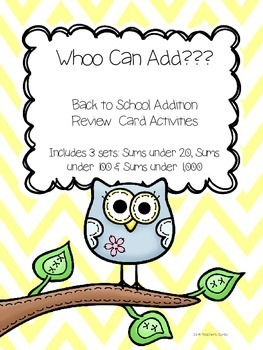 """Addition Activities Bundle - """"Whoo Can Add?"""""""