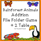 FREE Addition File Folder Game – Rainforest Animals +2 Table
