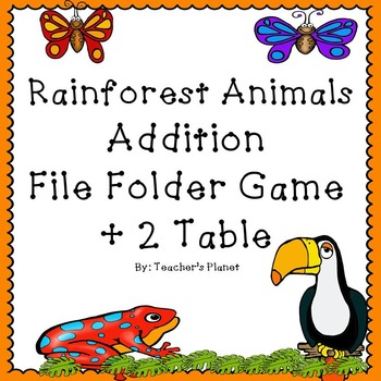 FREE Addition File Folder Game – Rainforest Animals +2 Table