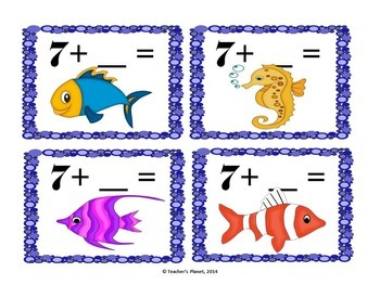 FREE Addition Game- Under the Sea plus 1 and 2