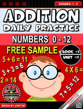 FREE Addition Morning Warm-Up Practice # 1 and 4  Grades 1-3