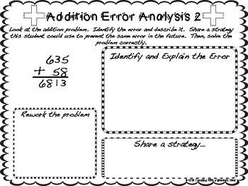 free addition regrouping error analysis center enrichment or assessment. Black Bedroom Furniture Sets. Home Design Ideas