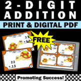 FREE 2 Digit Addition Without Regrouping Task Cards, 1st Grade Math Review