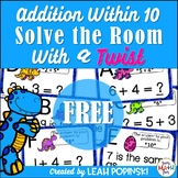 FREE Addition Within 10 - 1st Grade - Solve the Room with a TWIST