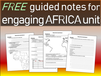FREE! Africa Unit Structured Notes (4 pages)