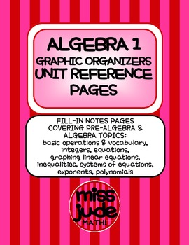 Algebra 1 Complete Year Graphic Organizers and Unit Reference Pages