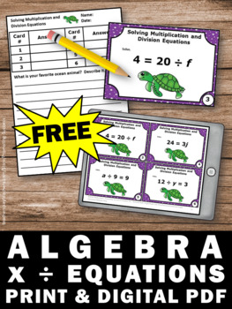 FREE Algebra Task Cards, Algebraic Expressions Multiplication and Division