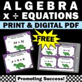 FREE Solving Algebraic Equations, Algebra Task Cards 6th Grade Math Review Games