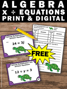 FREE Solving Algebraic Equations, Algebra Task Cards 6th Grade Math Review Games