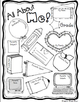 free all about me back to school poster tpt. Black Bedroom Furniture Sets. Home Design Ideas