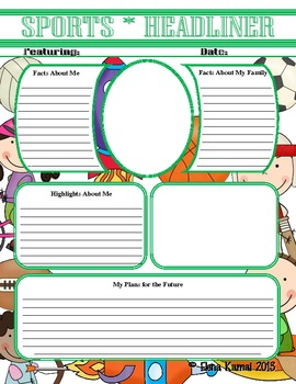 """FREE ->  All About Me: Common Core Ready """"Sports"""" Autobiography Worksheet"""