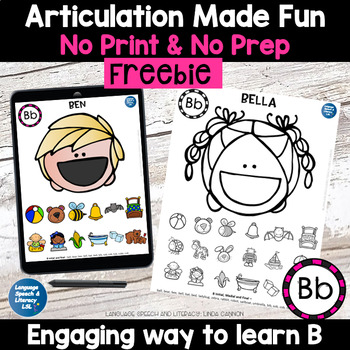 Free No Print Articulation of  B in Words & Sentences Speech Therapy