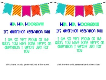 FREE Alliteration Celebration Student Shout-Out Cards