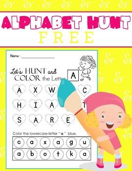 FREE - Alphabet Hunt, Alphabet Recognition and Color
