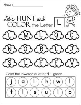 FREE - Alphabet Hunt, Alphabet Recognition and Color K-T