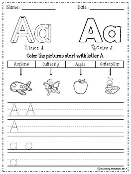 FREE Alphabet Letter Of The Week (A)