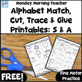 FREE! Alphabet Match Cut Trace & Glue Activities: Letters S, A JOLLY PHONICS
