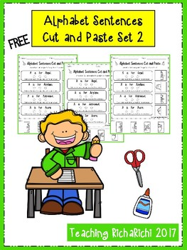 FREE Alphabet Sentences Cut and Paste Set 2