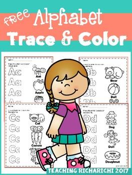 FREE Alphabet Trace & Color Set 2