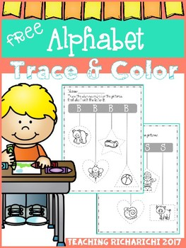 FREE Alphabet Trace and Color Set 4