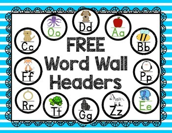 FREE Alphabet Word Wall Headers w/ Pictures  (Black & Whit