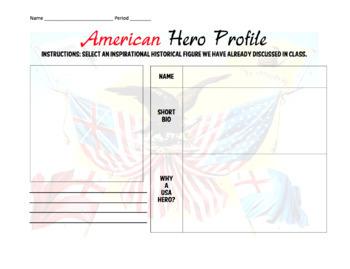 FREE American Hero Profile / Mini Bio Assignment