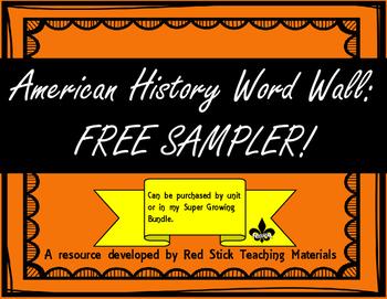 FREE American History Word Wall Sampler