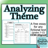 FREE! Analyzing Theme: a common core essay for ANY novel