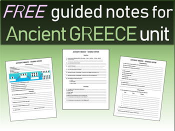 FREE! Ancient Greece Unit Structured Notes (6 pages)