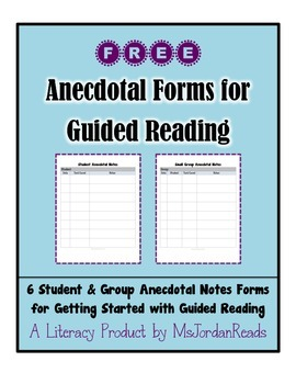 FREE Anecdotal Notes Forms for Guided Reading